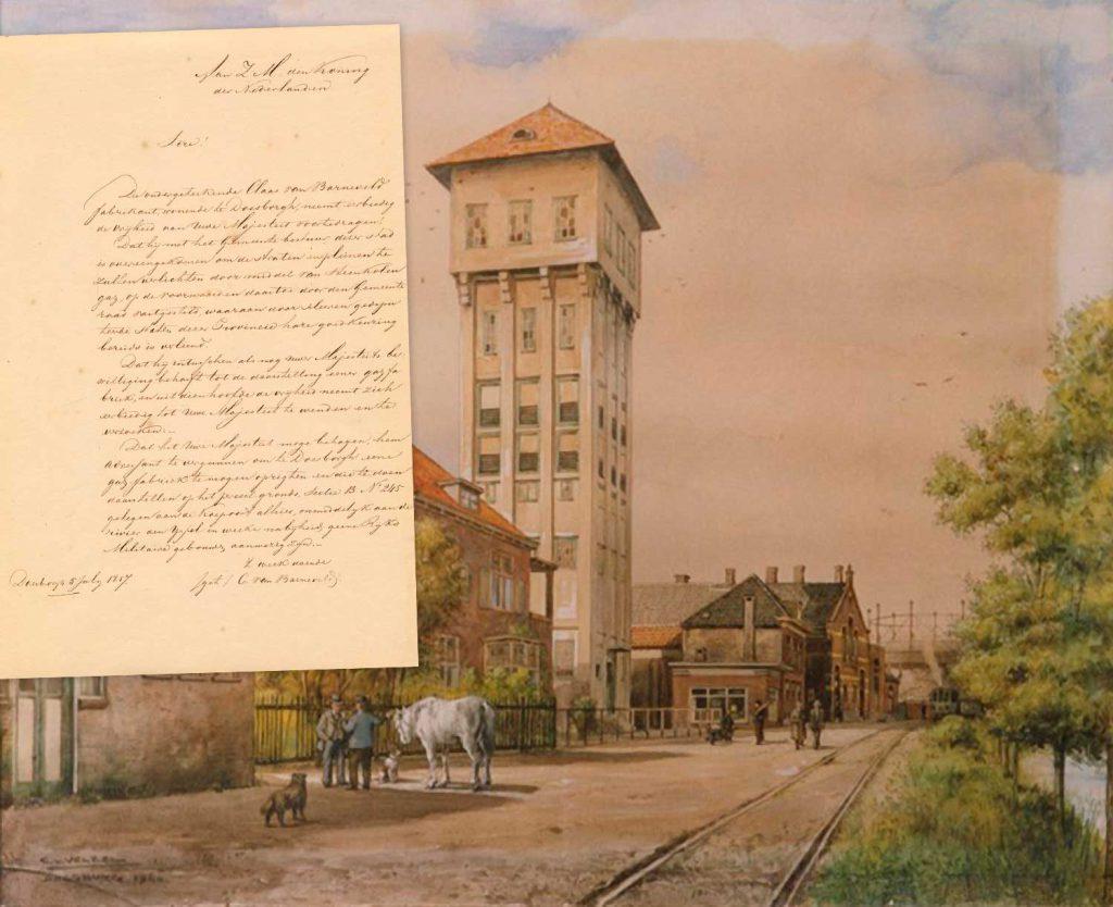Schilderij van C. van Velzen uit de NIeuwstraat 9. Situatie in 1944: achter de watertoren de gasfabriek met de gashouder.